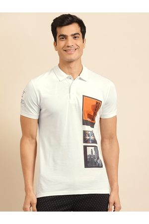 Benetton Men White Printed Pure Cotton Polo Collar T-shirt