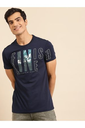 Benetton Men Navy Blue Printed Pure Cotton Round Neck T-shirt
