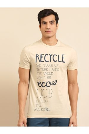 Benetton Men Sustainable Cream-Coloured & Navy Blue Printed T-shirt