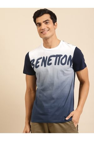 Benetton Men Navy Blue & White Printed Pure Cotton Round Neck T-shirt