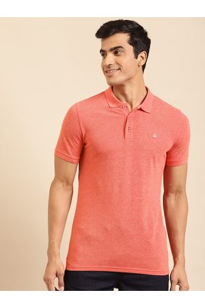 Benetton Men Coral Red Solid Polo Collar T-shirt