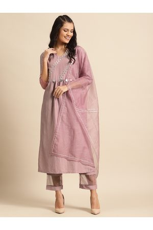 Varanga Women Mauve & Silver Embroidered Mirror Work Kurta with Trousers & Dupatta