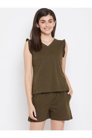 Clovia Women Olive Green Solid Pure Cotton Night Suit