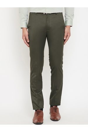 Canary London Men Olive Green Slim Fit Solid Formal Trousers