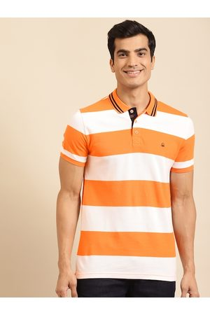 Benetton Men White & Coral Orange Striped Pure Cotton Polo Collar T-shirt