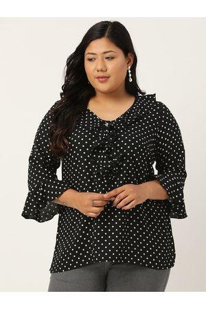 Revolution Women Plus Size Black & White Polka Dots Print Bell Sleeves Regular Top