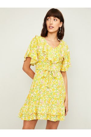 Lifestyle Women Yellow Printed Fit and Flare Dress