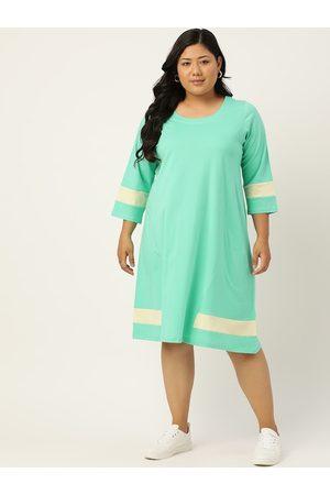 Revolution Women Sea Green Pure Cotton Solid T-shirt Dress