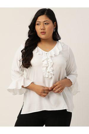 Revolution Women Plus Size White Bell Sleeves Regular Top