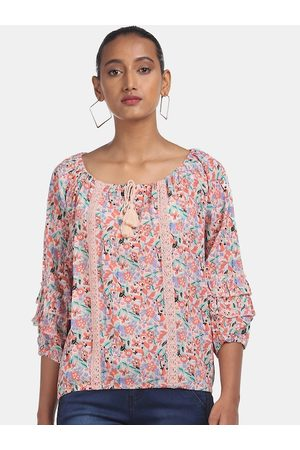 Cherokee Peach-Coloured Floral Printed Tie-Up Neck Puff Sleeves Blouson Top