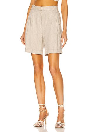 Frame Pleated Short in Khaki Multi