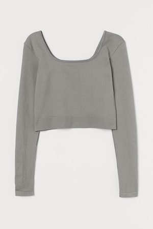 H&M Women Sports Tops - Cropped sports top - Grey