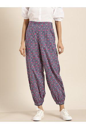 Sangria Women Navy Blue & Pink Printed Pure Cotton Harem Pants