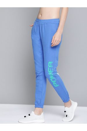 HRX Women Strong Blue Typographic Slim Fit Lifestyle Track Pants