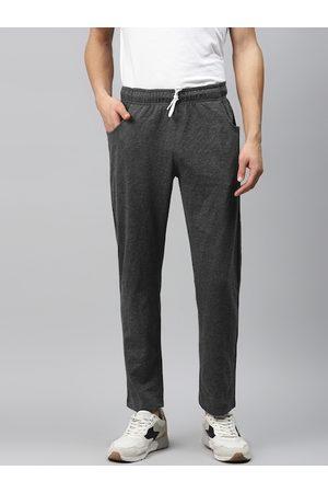Hubberholme Men Charcoal Grey Slim Fit Solid Track Pants