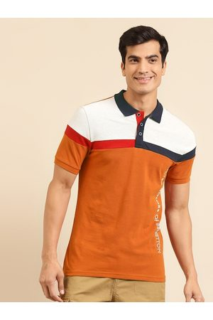 Benetton Men Rust Orange & White Cotton Colourblocked Polo Collar T-shirt