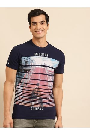 Benetton Men Navy Blue & Pink Printed Pure Cotton Round Neck T-shirt