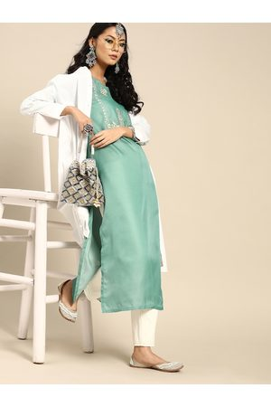 Varanga Women Sea Green Ethnic Motifs Yoke Design Sequins Kurta