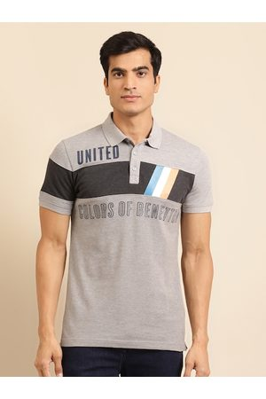 Benetton Men Grey Melange Printed Pure Cotton Polo Collar T-shirt