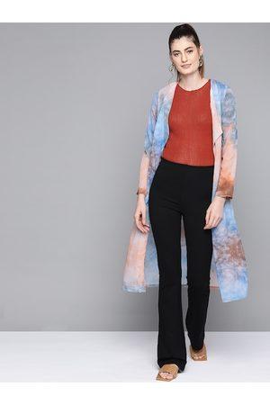 SASSAFRAS Women Blue & Peach-Coloured Dyed Lapel Longline Shrug