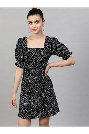 STREET 9 Women Black Printed A-Line Dress
