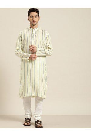 SOJANYA Men Yellow & White Striped Pure Cotton Kurta with Churidar