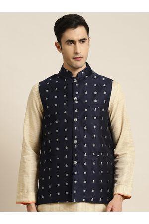 SOJANYA Men Navy Blue & Silver Woven Design Nehru Jacket
