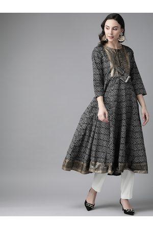 Bhama Couture Women Black & White Bandhani Print A-line Kurta