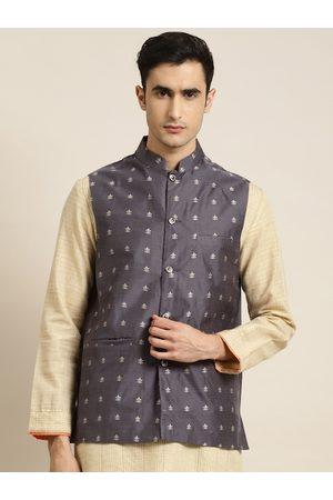 SOJANYA Men Charcoal Grey & Silver Self Design Nehru Jacket