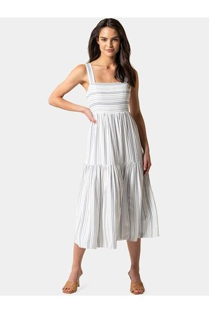 Forever New Women White Striped Fit and Flare Dress