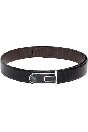 CRUSSET Men Black Solid Leather Belt