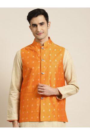 SOJANYA Men Orange & Silver Self Design Nehru Jacket
