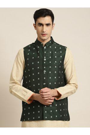SOJANYA Men Green & Silver Woven Design Nehru Jacket