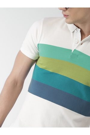 Mast & Harbour Men Off-White & Sea Green Striped Polo Collar T-shirt