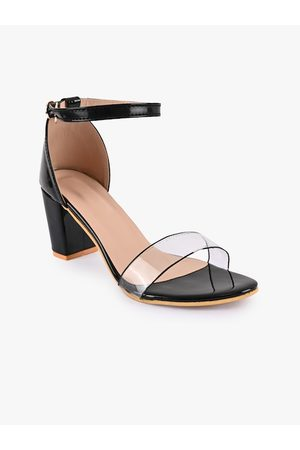 BuckleUp Women Black Solid Block Heels