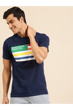 Benetton Men Sustainable Navy Blue & White Striped VIROBAN T-shirt