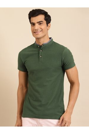 Benetton Men Olive Green Self Design Pure Cotton Polo Collar T-shirt