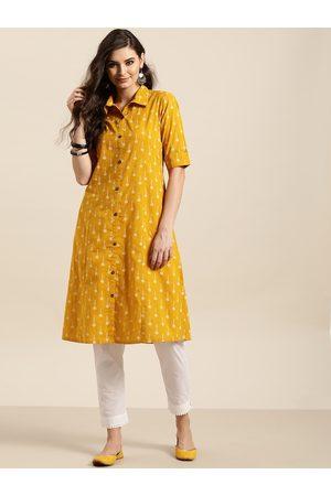 Sangria Women Mustard Yellow & White Floral Print A-Line Kurta