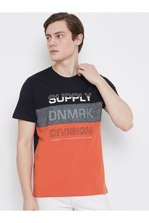 OCTAVE Men Black Colourblocked Round Neck T-shirt