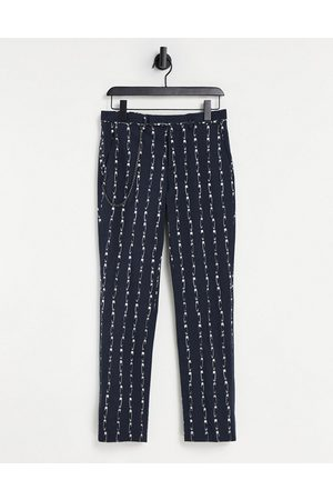 Twisted Tailor Men Chinos - Trousers with chain in safety pin stripe in