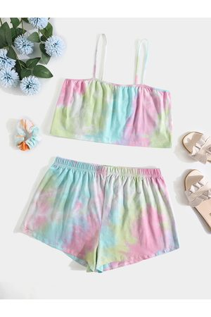 YOINS Plus Size Tie Dye Elastic Strap Backless Design Sleeveless Two Piece Outfit