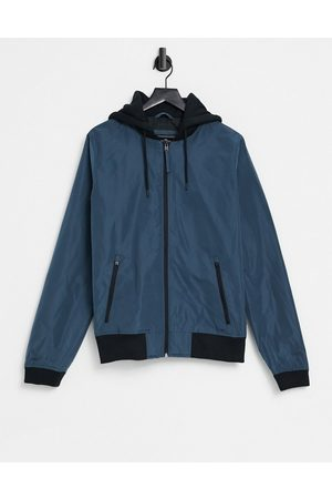 Hollister Lightweight nylon sweat hood bomber jacket in