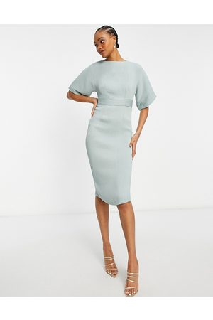 Closet Women Pencil Dresses - Ribbed pencil mini dress in sage green