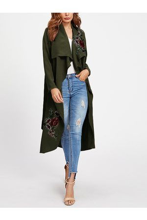 YOINS Embroidered Lapel Collar Long Sleeves Trench Coat With Belt