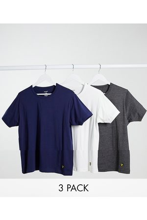 Lyle & Scott 3 pack crew lounge tshirts in white charcoal and navy