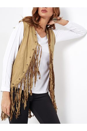 YOINS Suedette Fringed Gilet with Eyelets