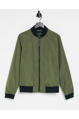 Hollister Lightweight nylon bomber jacket in olive