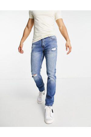 River Island Men Slim - Slim jeans with rips in light