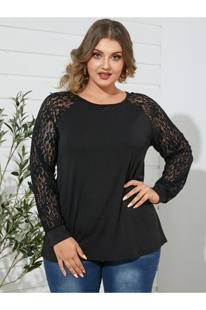 YOINS Plus Size Lace Long Sleeves Tee