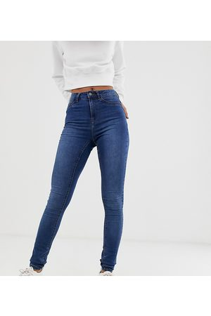 Noisy May Callie high waisted skinny jeans in mid blue wash